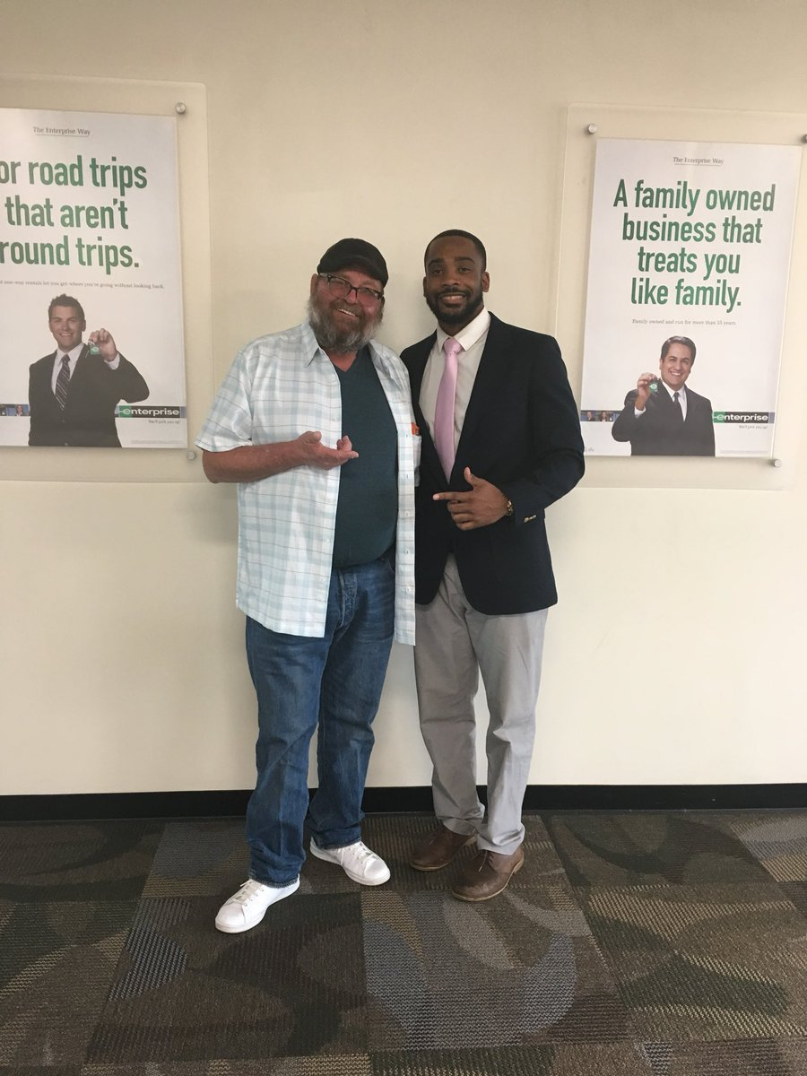 Me and Isaiah at enterprise car rental. He has a clothing line 70x7