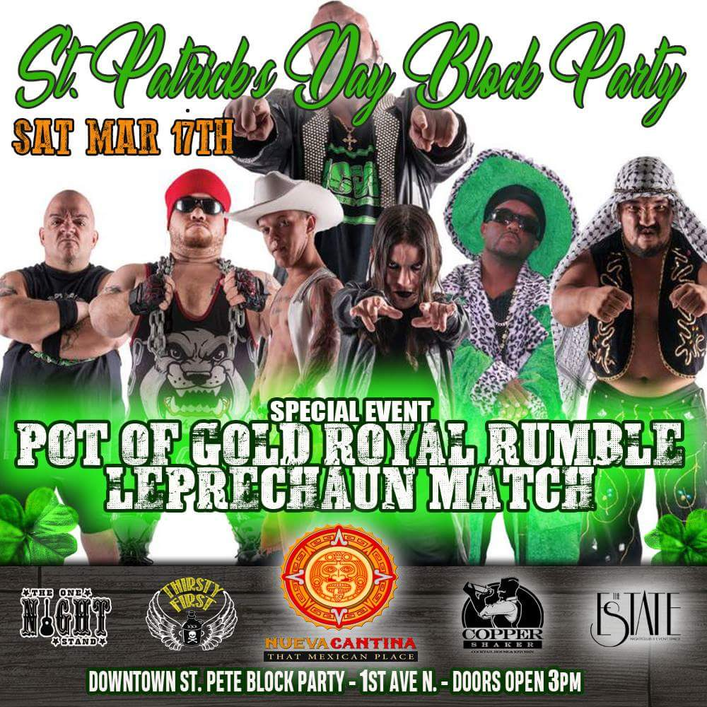 8pm Tomorrow night @mcwmidgets will be at the Downtown St. Pete block party celebrating St. Patrick&#39;s Day. #MCW #GreatestLittleShowOnEarth<br>http://pic.twitter.com/GaPXzwClpf