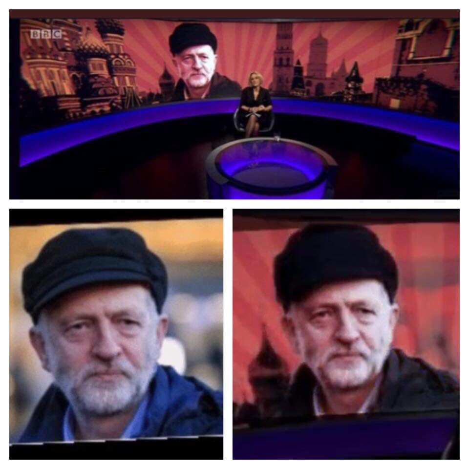 The BBC actually photoshopped Jeremy Corbyns hat to make it look more Russian for this smear on Newsnight. Let that sink in. The BBC is being used as an anti- #Labour propaganda machine.