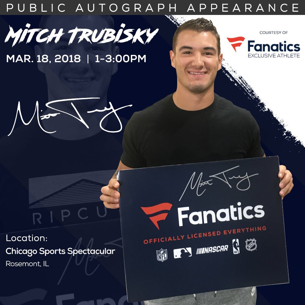 Can't wait to meet a bunch of fans at the Chicago Sports Spectacular this Sunday in Rosemont, IL! @Fanatics