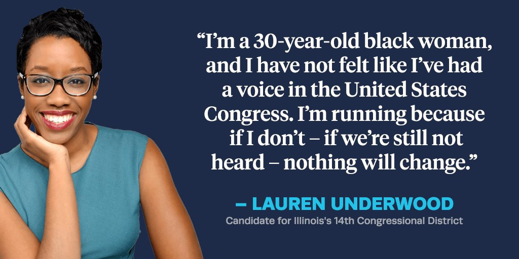 .@LUnderwood630 is running in a primary against six men to be the first black woman to represent #IL14 – a district that's never elected anyone other than a white man. She is standing on the front lines of the resistance.