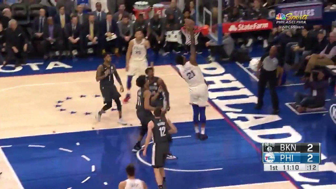 Happy Birthday Joel Embiid as he uses the pump fake to drive to the basket and slam it home