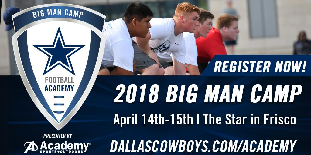 Don't miss the Dallas Cowboys Football Academy's Big Man Camp @thestarinfrisco!  Register now: https://t.co/UJ7rpUQLgF