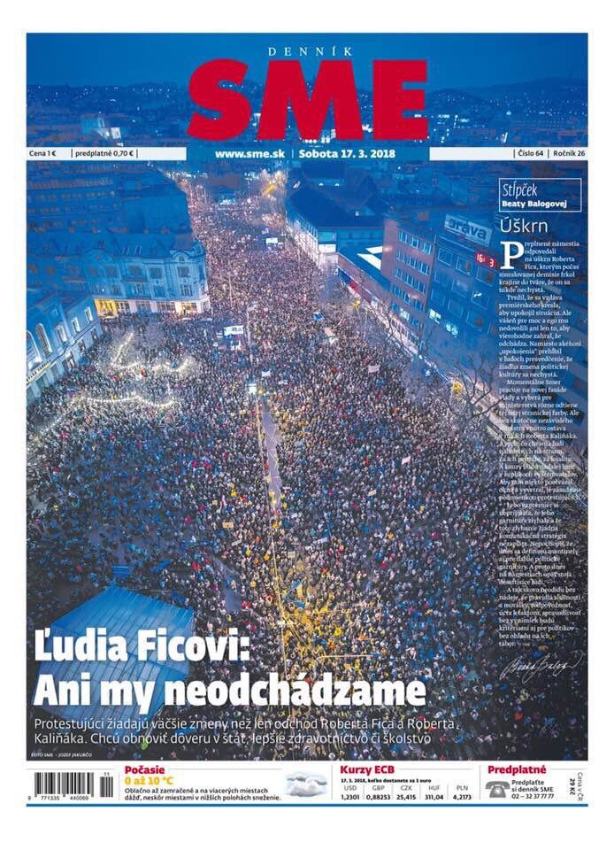 #Slovakia's Prime Minister resigned after public, enraged by the murder of a journalist investigating mafia/government ties, demanded change. The resignation wasn't enough; Slovaks want to renew faith in the state via new elections. This pic = today's massive protest. Stay tuned.