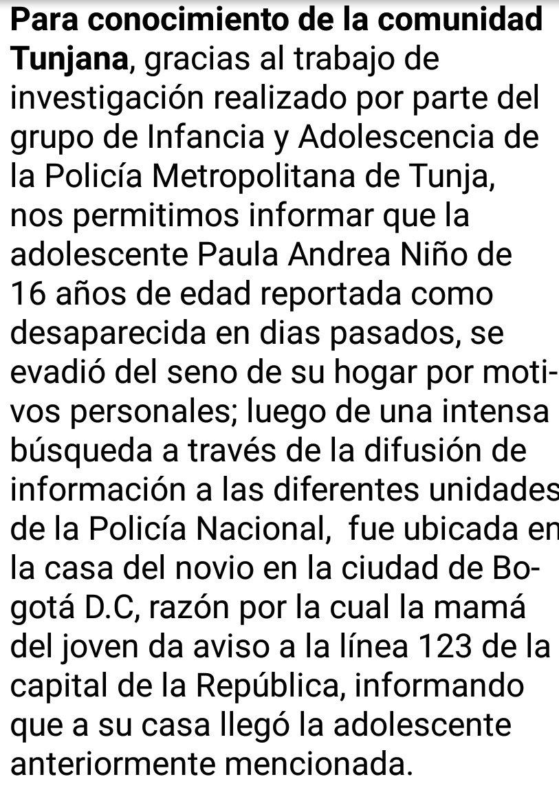 Información oficial de @PoliciaMTunja co...