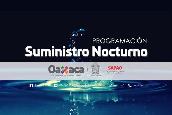 Suministro de Agua Potable Nocturno para este 16 de marzo de 2018. https://t.co/oo8dQbIy95 @SAPAO_GobOax https://t.co/RTr9ZWXudk
