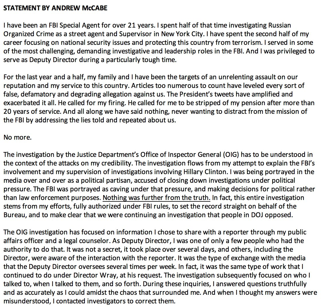 JUST IN: Statement from Andrew McCabe:  'I am being singled out and treated this way because of the role I played, the actions I took, and the events I witnessed in the aftermath of the firing of James Comey.https://t.co/t2XUf57p21""