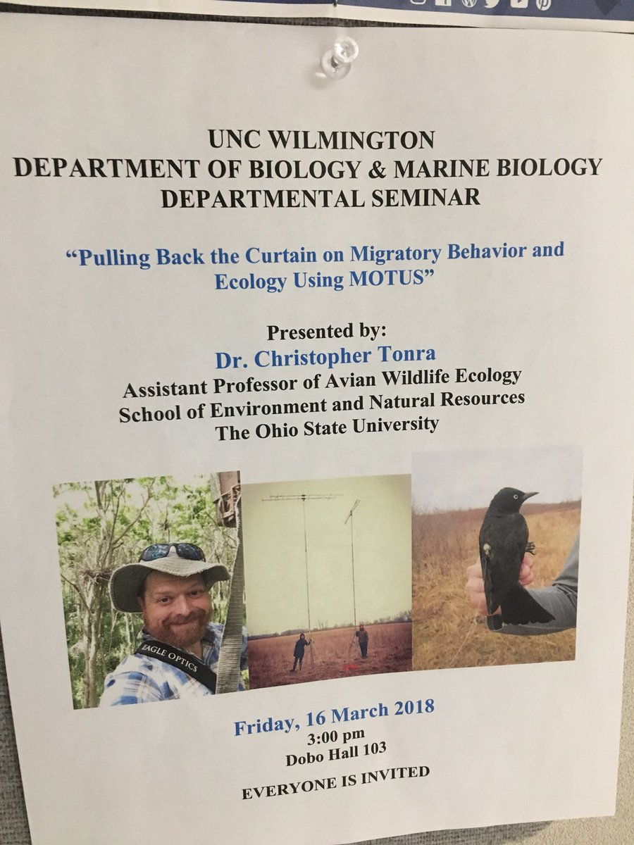 Many thanks to Ray Danner and everyone @UNCWilmington Biology and Marine Biology for coming to hear me talk #Motus and migratory bird ecology & conservation today! So much fun! #ornithology @OSUEnvironment