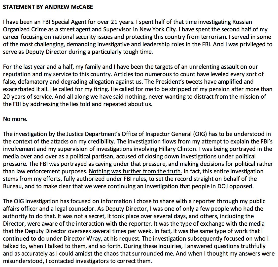 """JUST IN: Statement from Andrew McCabe: 'I am being singled out and treated this way because of the role I played, the actions I took, and the events I witnessed in the aftermath of the firing of James Comey."""" https://t.co/BYV4ZeB9hD"""