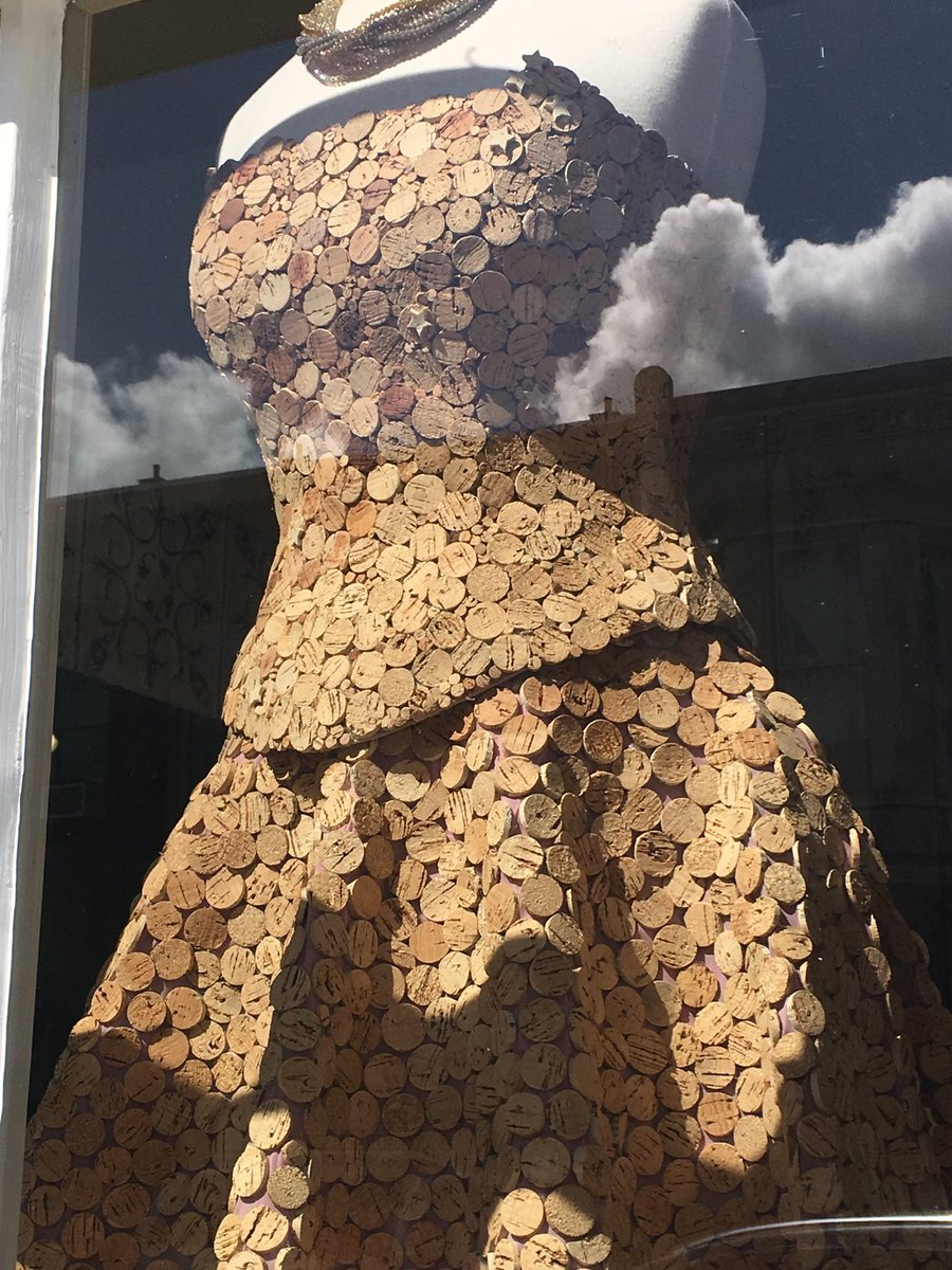 Oddly lovely dress made from slices of  #wine  corks! 🥂Sonoma, California