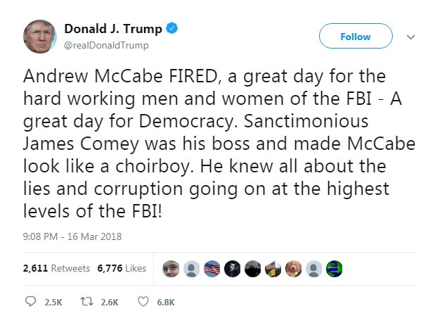 President Trump, in tweet, says of McCabe firing: 'a great day for Democracy.' Read more: https://t.co/ZezOaMxCEI