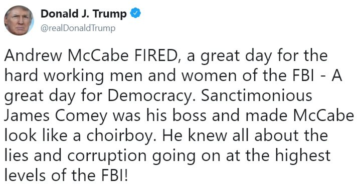 On Saturday, @realDonaldTrump tweeted his reaction to Attorney General Jeff Sessions' firing of former FBI Deputy Director Andrew McCabe. https://t.co/zx0n6S7Rbl