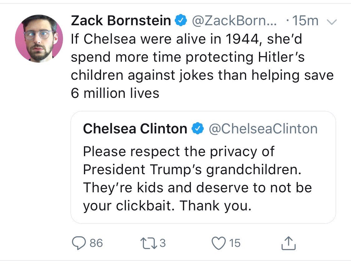 Here is what @ZackBornstein tweeted implying I'd rather watch my children or any child or person die than...I can't even finish this thought. In 2018 or any year, I hope we can agree it's not ok to joke about children - or imply their parents would rather watch them die.