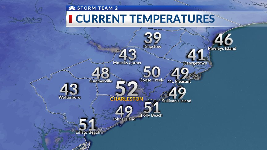 6 AM temps range from 39 in Kingstree to...