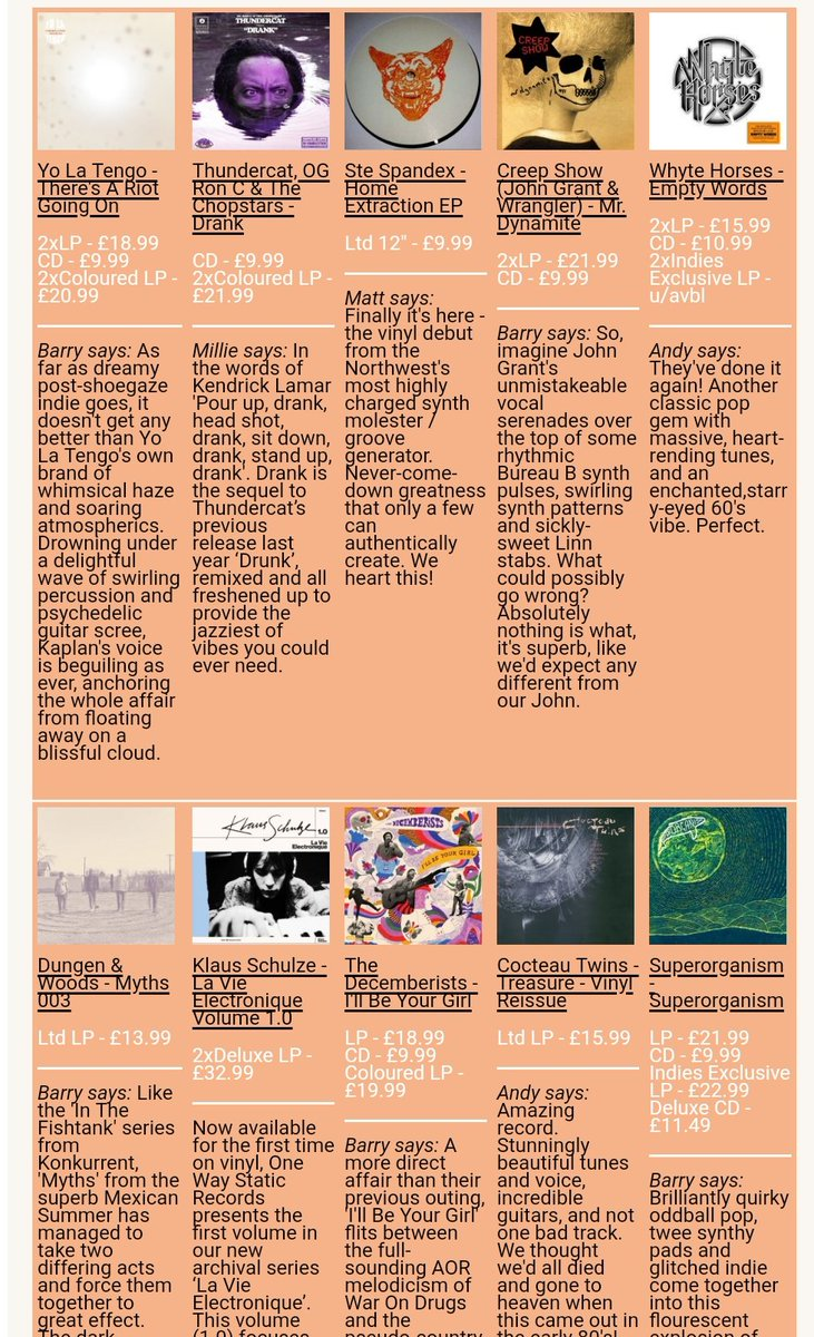 10 FOR THE WEEKEND!! @TheRealYLT @Thundercat @stespandex @CreepShowMusic @whytehorses @MexicanSummer @klausschulze @TheDecemberists @4AD_Official @SPRORGNSM  http://www. piccadillyrecords.com/counter/featur e.php?feature=862 &nbsp; … <br>http://pic.twitter.com/wcnUiItsbo