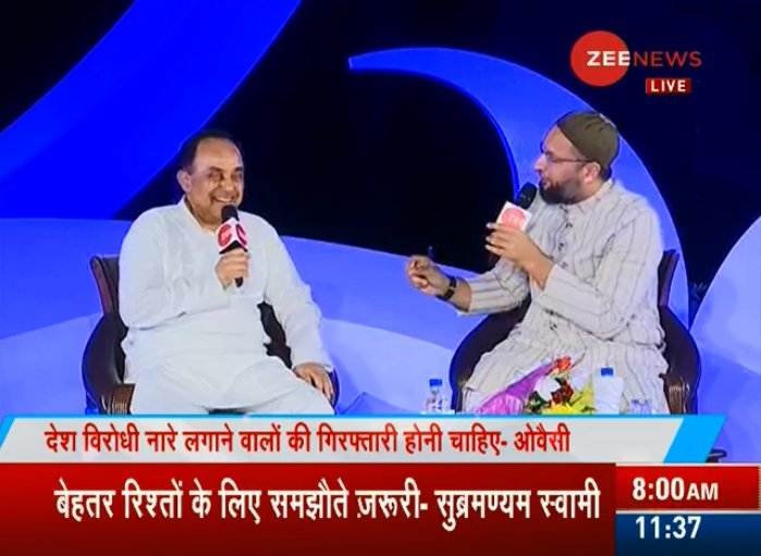 #ZeeIndiaConclave  AIMIM chief @asadowaisi blamed Modi government for using Muslims as vote banks and doing gross injustice to them.  @Swamy39 @sudhirchaudhary https://t.co/dznYNHgjUN