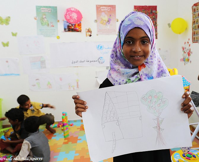 """I dream of a world full of trees, nice houses and a blue sky"", says 12-year-old Fatima, who attends a UNICEF-supported learning centre in #Yemen.   #ChildrenUnderAttack"