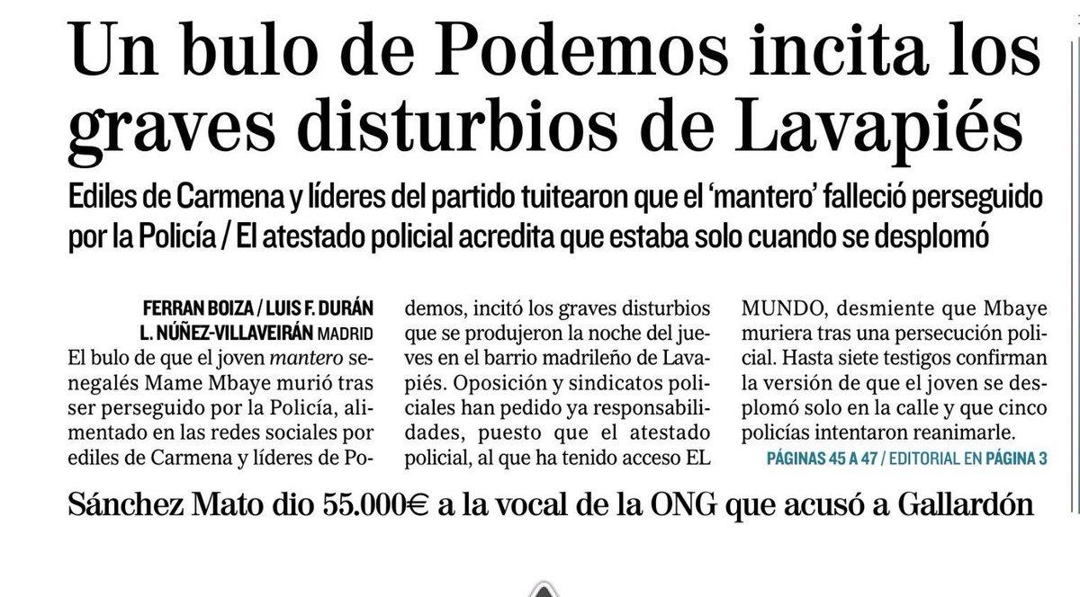 Tras los disturbios en Lavapiés, los mismos medios que publicaron que Mame Mbaye murió en una persecución policial acusan a Podemos y Ahora Madrid de inventar que murió en una persecución policial. Esto es indecente.