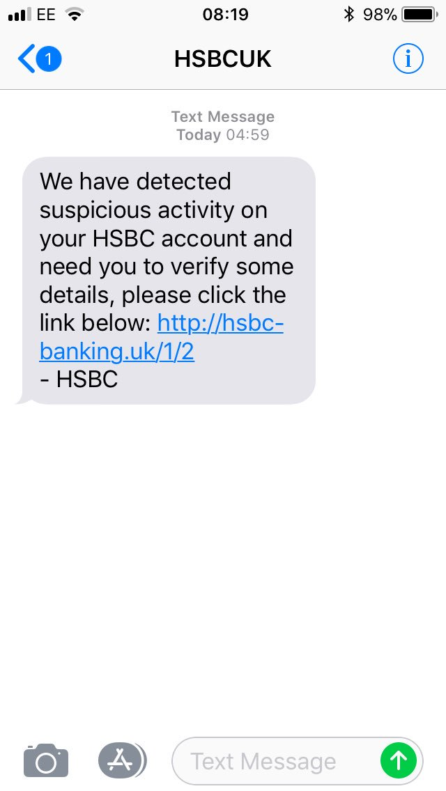 Hsbc Uk On Twitter Hi Rachel This Would Be A Scam Text As Hsbc Would Not Include A Link In The Text But Would Direct You To The Official Site Please Forward