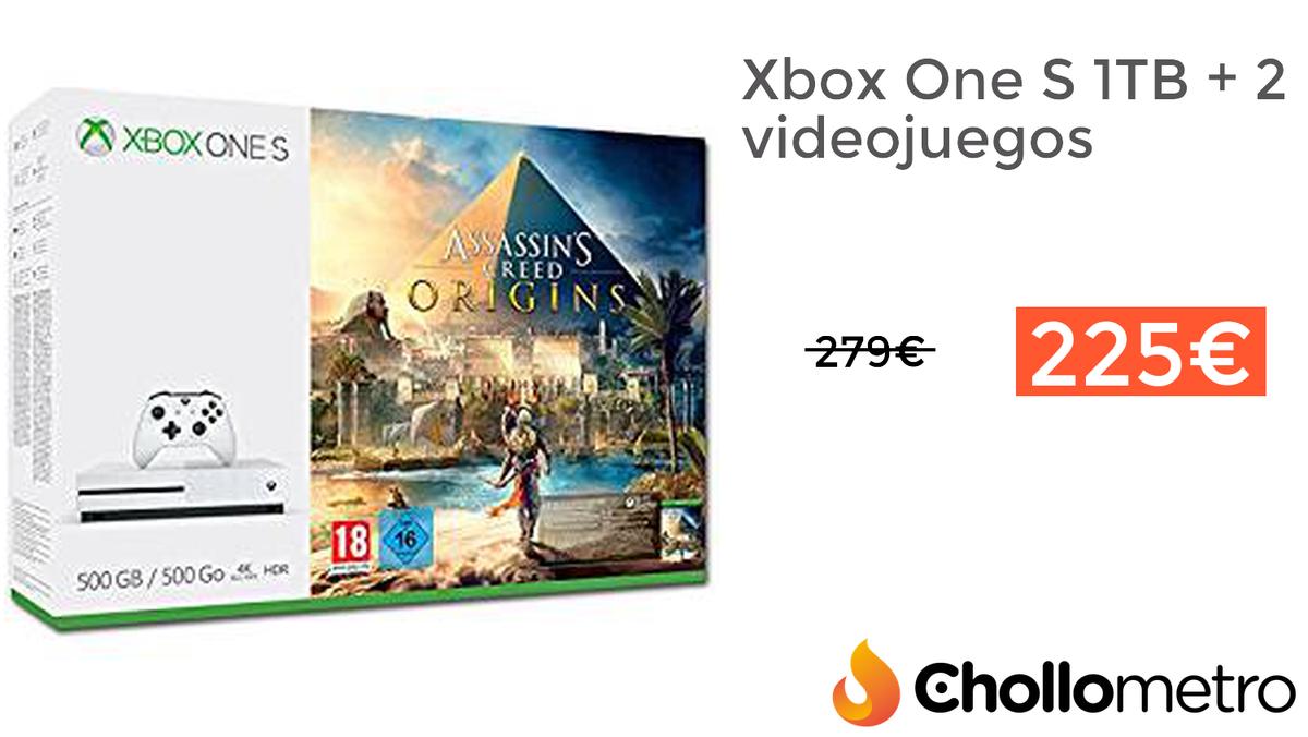 #CHOLLO Xbox One S 1TB + 2 videojuegos d...