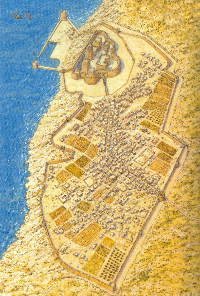 The Crusader city of Arsuf in the mid-13th century, the site of an impressive citadel which would soon be redd.it/84wes2