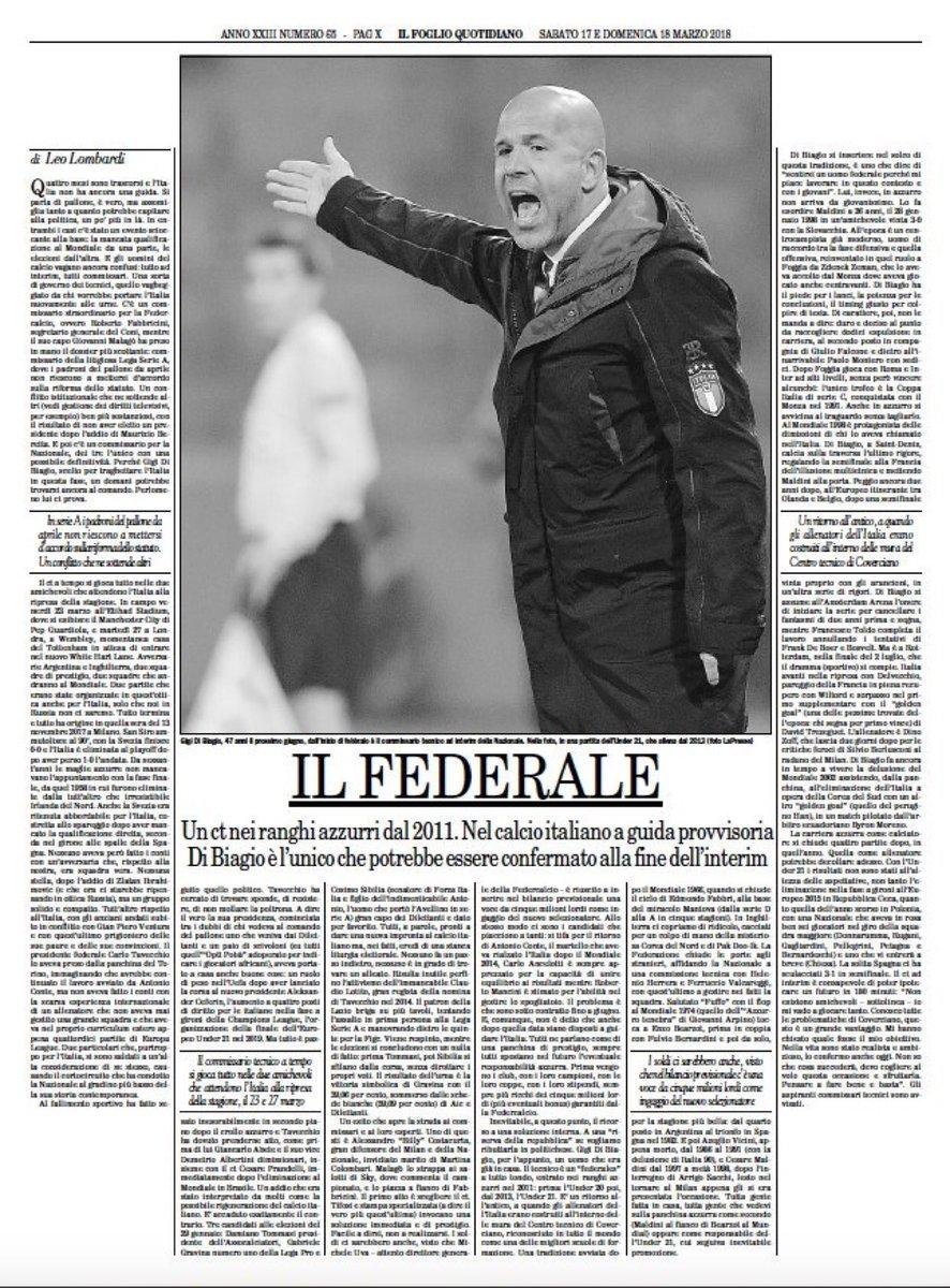 • Il federale – Un ct nei ranghi azzurri dal 2011. Nel calcio italiano a guida provvisoria Di Biagio è l'unico che potrebbe essere confermato alla fine dell'interim – di Leo Lombardi sul Foglio di oggi https://t.co/ow3OKWDwzM