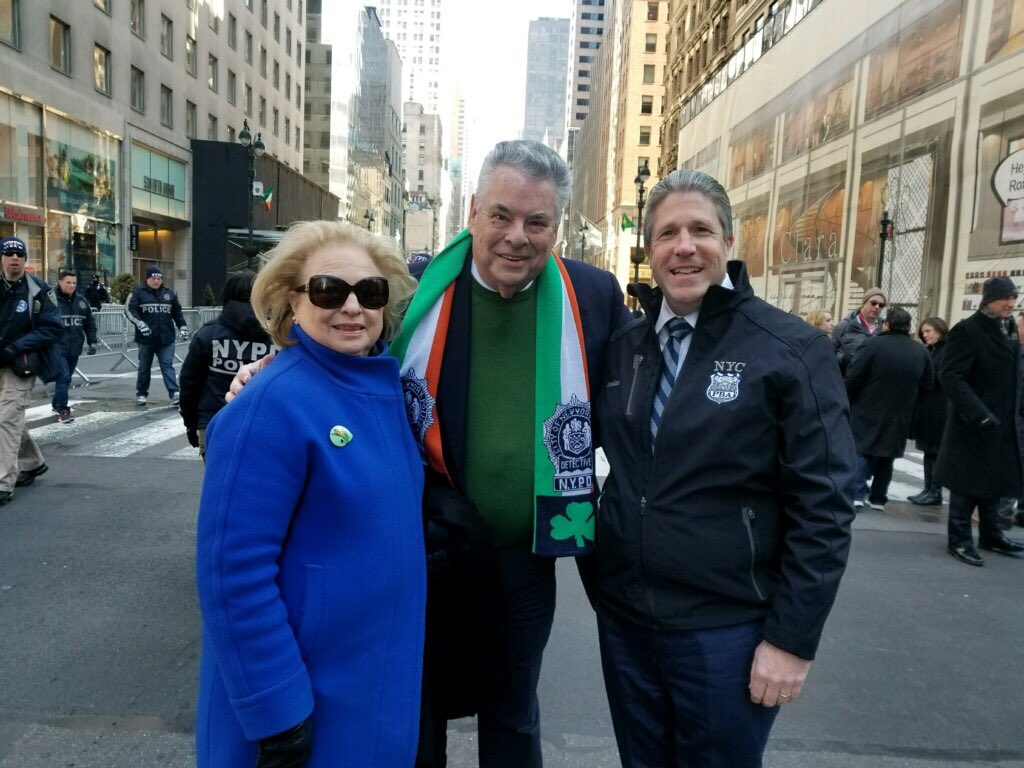 Rosemary & I with NYC PBA President Patrick Lynch at St. Patrick's Day Parade in Manhattan. ☘️