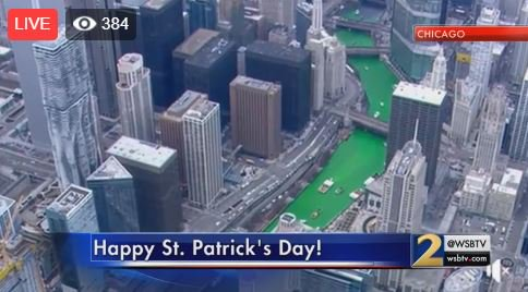 ☘️ The traditional green dyeing of the Chicago River to celebrate St. Patrick's Day has begun! https://t.co/6OFEjsNCdk   WATCH LIVE: https://t.co/rud2VZAdWW