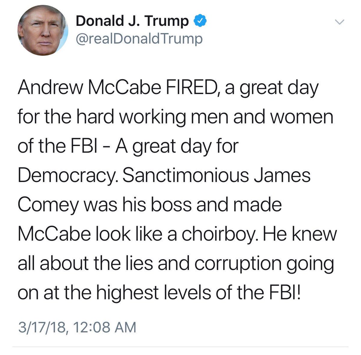 In case there was any doubt of who was behind the McCabe firing. He couldn't even wait until the next morning to take credit.