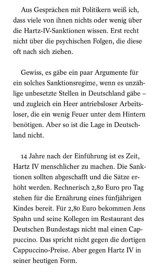 '2,80 € pro Tag stehen für die Ernährung eines 5-jährigen Kindes bereit. Für 2,80 € bekommen J. Spahn & seine Kollegen im Bundestag nicht mal einen Cappuccino. Das spricht nicht gegen die dortigen Cappuccino-Preise. Aber gegen Hartz IV in seiner heutigen Form.' @MFeldenkirchen