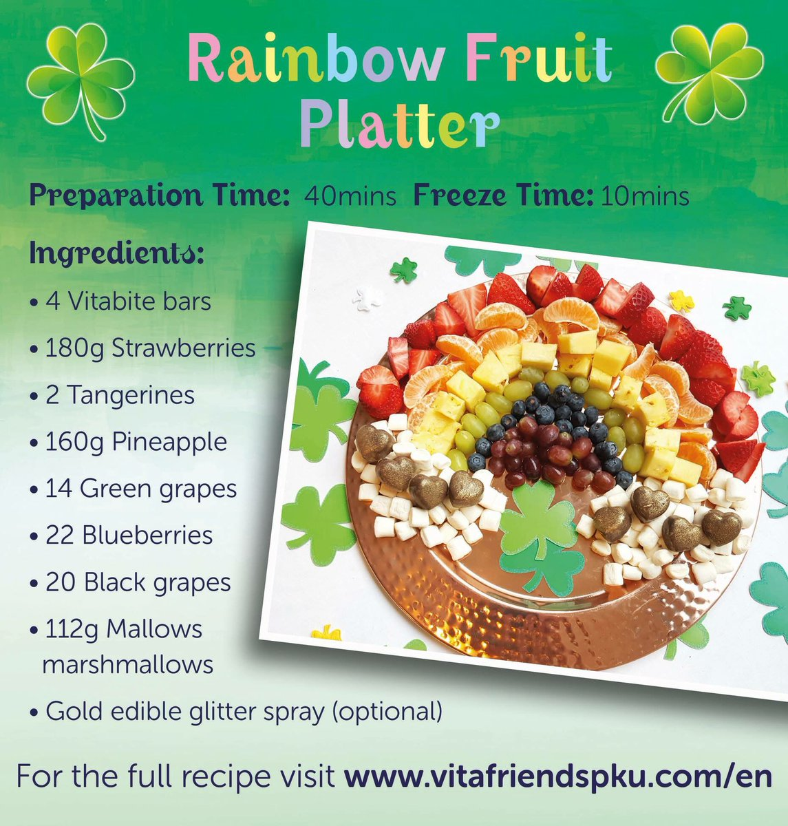 Happy St. Patrick&#39;s Day! Maybe if  you&#39;re lucky you&#39;ll find some gold at the end of the rainbow. Or you could make your own! Try this Rainbow Fruit Platter complete with clouds and gold!  Recipe is here:  https://www. vitafriendspku.com/en/recipes/rai nbow-fruit-platter/ &nbsp; …  #pku #pkurecipes <br>http://pic.twitter.com/lmvoBDBAm4