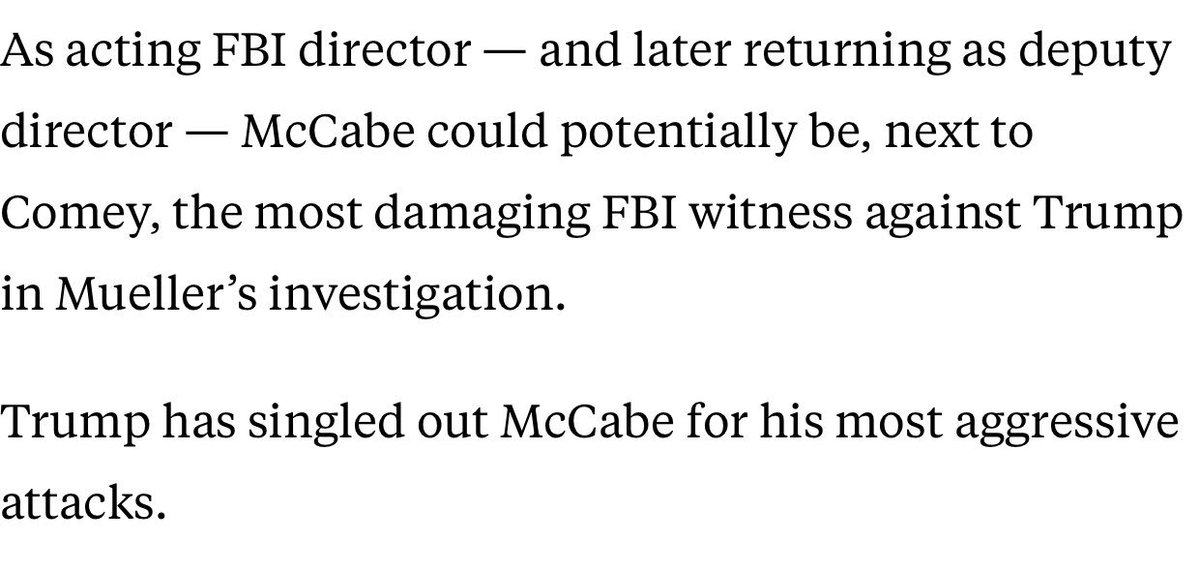 To reiterate, Trump has targeted all three men James Comey informed of Trump pressuring him to end the investigation into Michael Flynn. McCabe was likely the most dangerous to him.  https://t.co/BiIAyqzhxv Is this witness tampering? Obstruction?