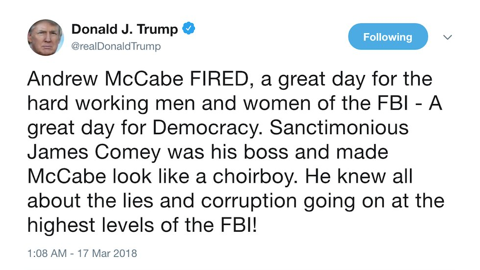 Trump celebrates firing of FBI official he repeatedly attacked: 'A great day for democracy' https://t.co/WDphdDA3od