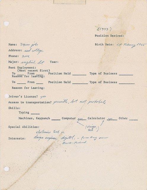 【激レア】スティーブ・ジョブズ氏の履歴書が約1800万円で落札 3カ所に直筆サイン https://t.co/FPNi5a8uUQ  ジョブズ氏は生前めったにサインをしなかったため、3カ所に署名が施された履歴書に大きな価値が見出された可能性もあるそう。