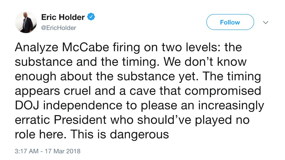 Obama AG rips McCabe firing: It's a dangerous attempt to please an 'increasingly erratic president' https://t.co/KYgRFhIuHH