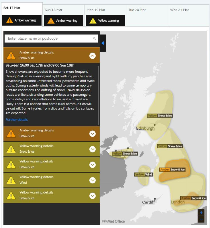 An Amber severe weather warning for #snow and #ice has been updated):https://t.co/QwDLMfRBfs Stay #weatheraware @metofficeUK