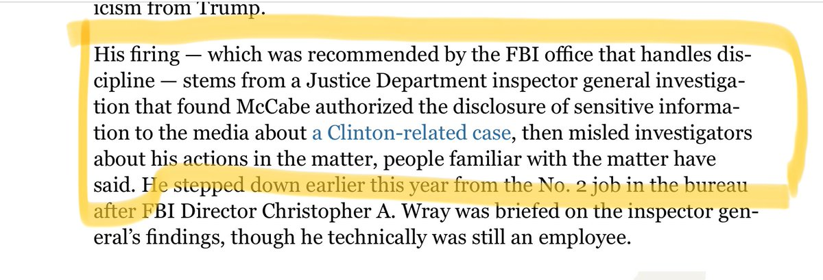 Why was McCabe fired? Below from Wash Post