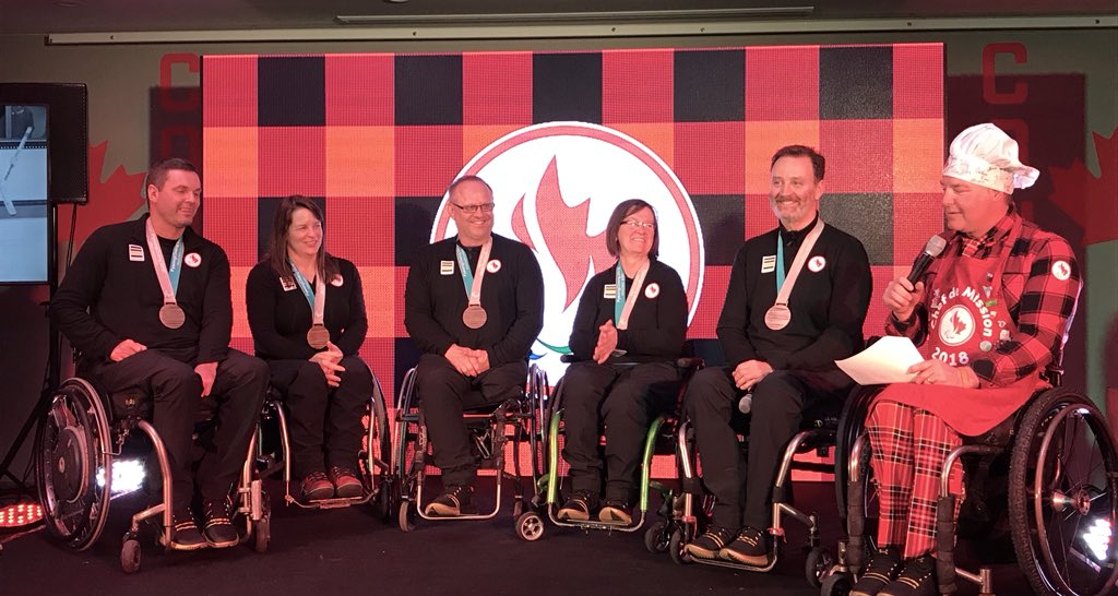 This is their moment.   Canada's wheelchair curling team honoured at Canada House for their bronze medal. The Comeback Kids. #cbccurl