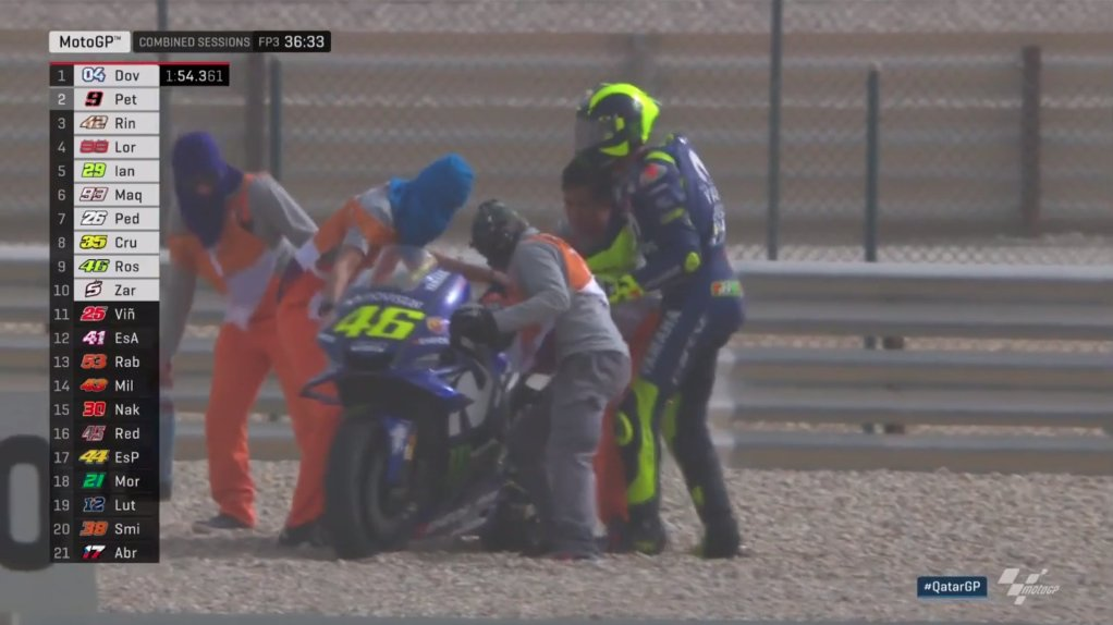 Rossi goes down! 😧  He's back up on his feet but his M1 is going nowhere!  Not the ideal start to #MotoGP FP3 for The Doctor...