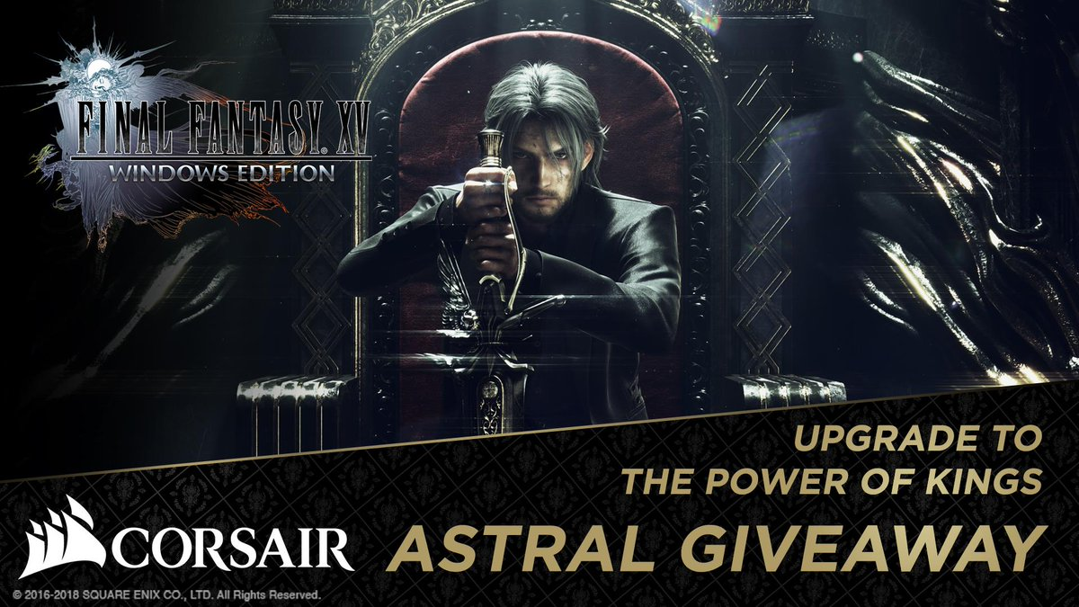 Thats it! Weve come up with a new giveaway. Together with @CORSAIR we are sharing some amazing prizes to celebrate #FFXV Windows Edition! Enter here: bit.ly/FFXVCORSAIR