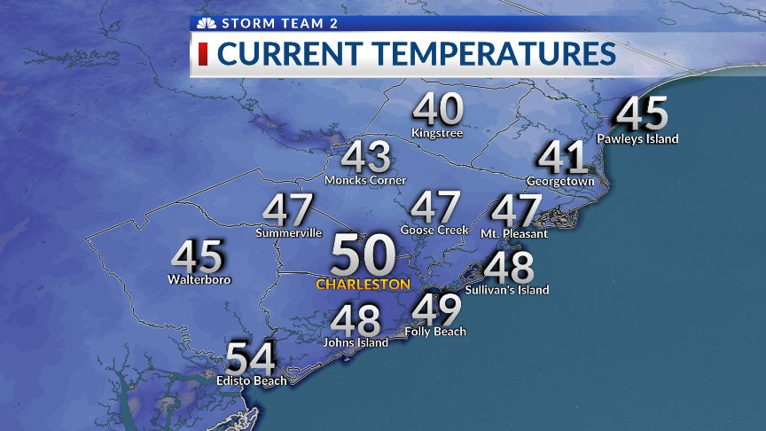 8 AM temps range from 40 in Kingstree to...