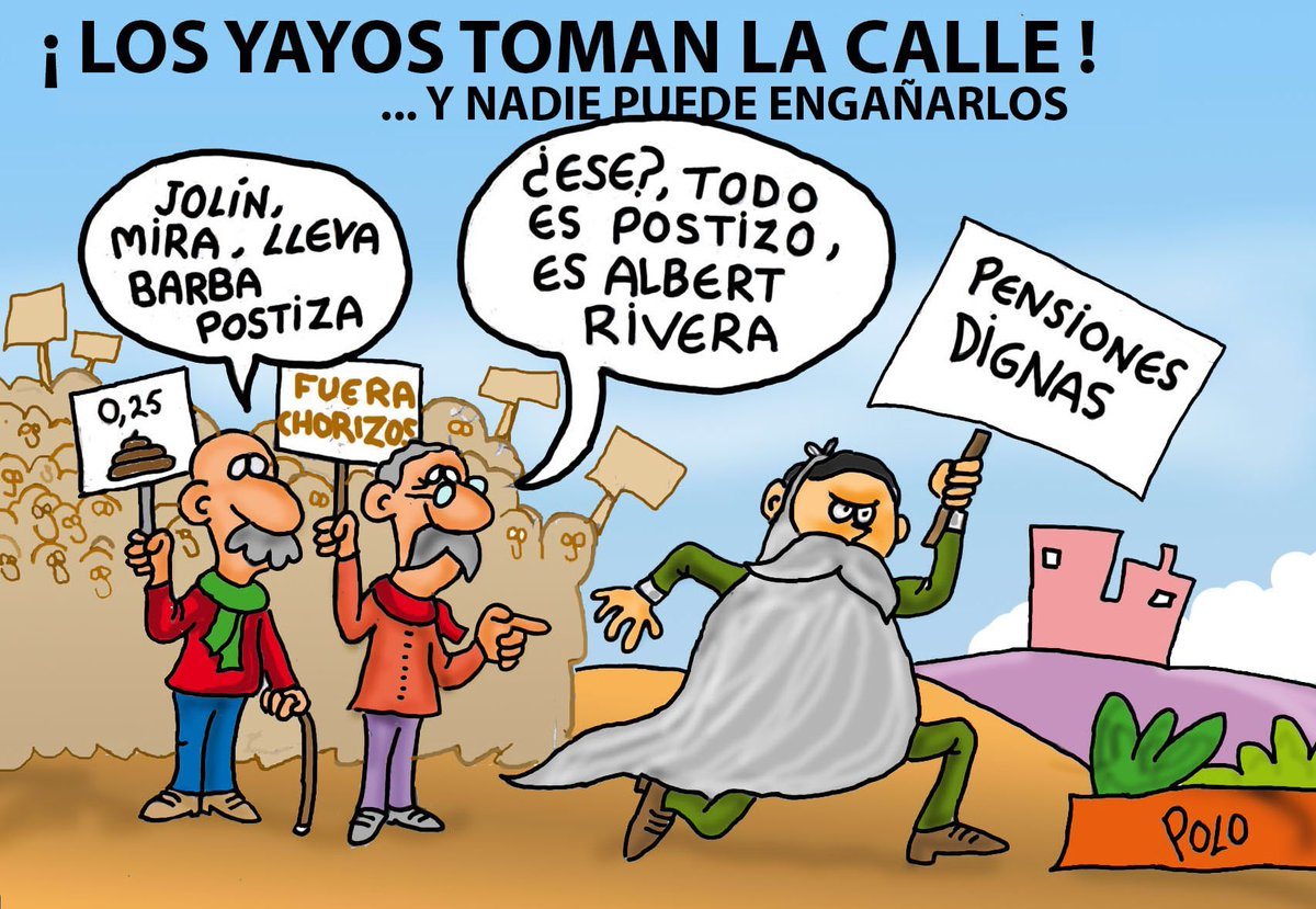 """La viñeta de hoy...""""Los yayos y Falangito"""" #FelizSabado #PensionesDignas @Famelica_legion @carolacaracola5"""