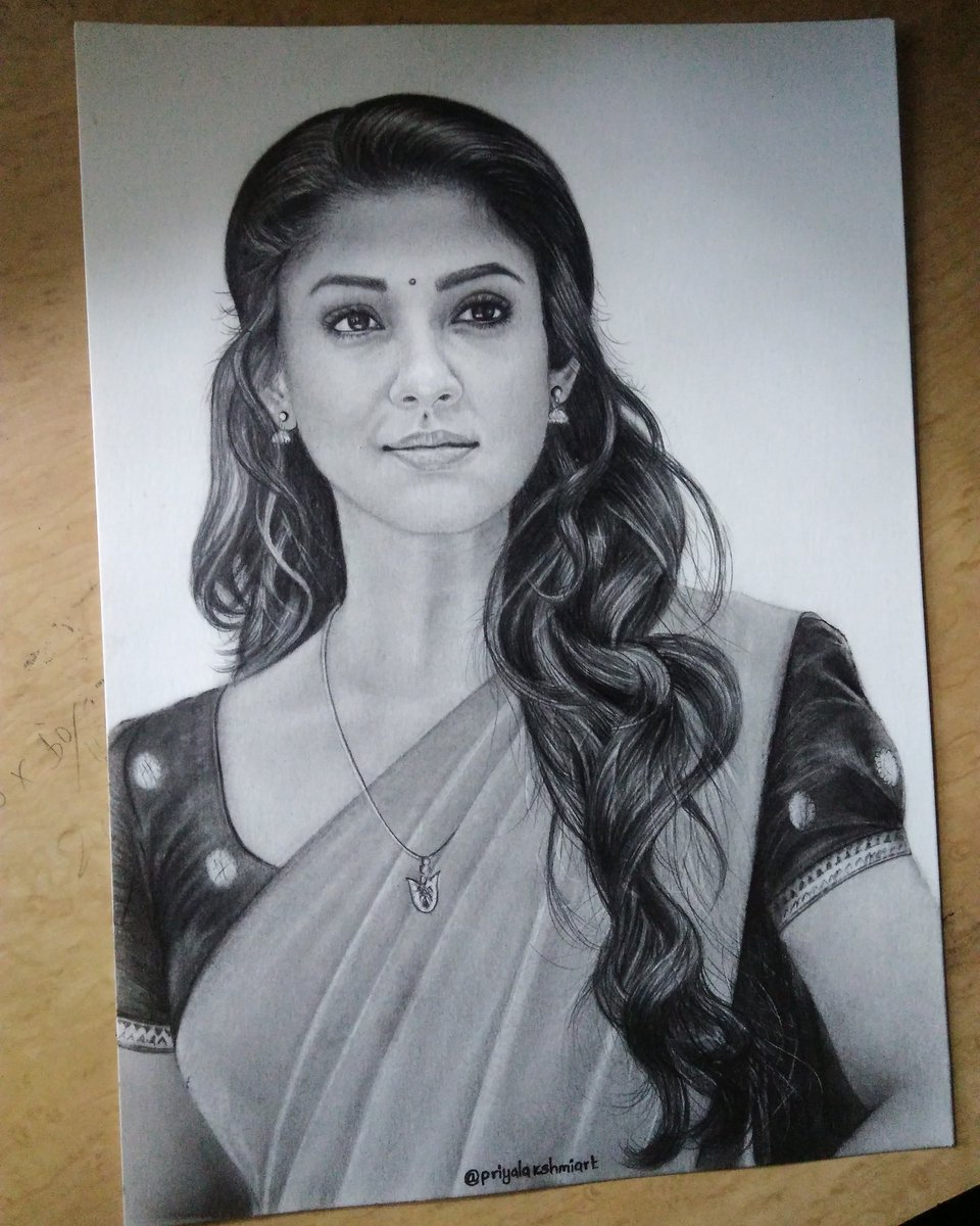 Completed drawing of south indian actress nayanthara myfav it took me 25 hrs do share your views thank you nayanthara nayan tamilactress