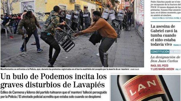 La prensa acusa a Podemos de difundir un bulo que en realidad fue la primera versión de la Policía sobre la muerte del mantero eldiario.es/rastreador/pre…