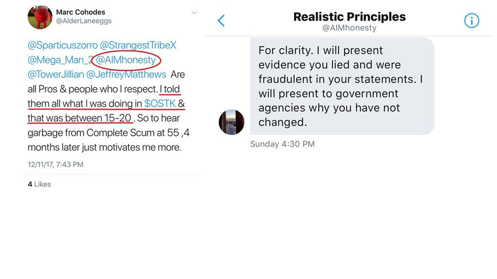 First, Marc Cohodes brought lackey Fraser Perring (Viceroy Research founder) into the $OSTK pump, then Perring sent me this anonymous bullshit threat on 12-3-17 to bully me on OSTK. At the time, I did not know that @AIMhonesty was his twitter handle.