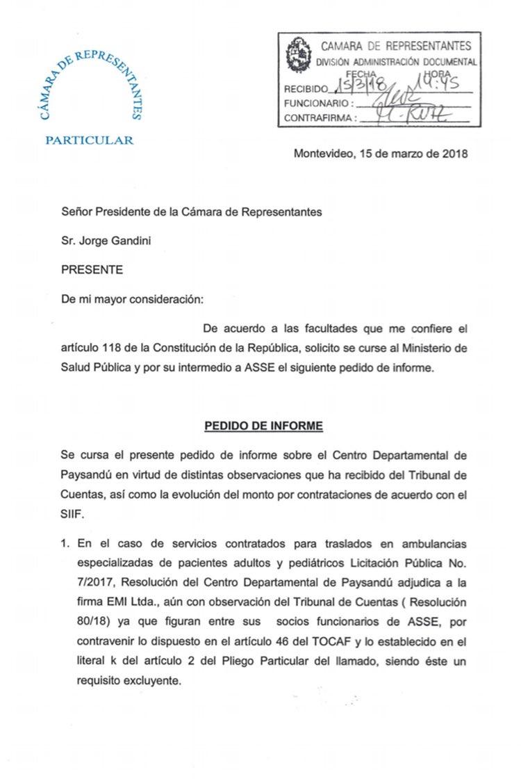 Solicitamos que ASSE explique observaciones del Tribunal de Cuentas e incrementos de privatizaciones en el Hospital de Paysandú.
