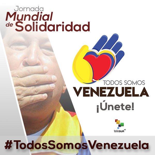 Tuitazo Mundial de Solidaridad con la Revolución #Bolivariana. Únete con la etiqueta  #TodosSomosVenezuela #VenezuelaPazSíInjerenciaNo https://t.co/lYz7vzozez
