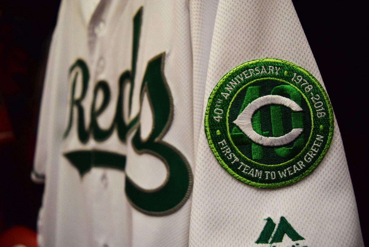 Happy #StPatricksDay! We're seeing green!  This year's jerseys include custom sleeve patches to commemorate the 40-year anniversary of being the first professional team to wear green in honor of the holiday.   #RedsThreads | #RedsST ☘️