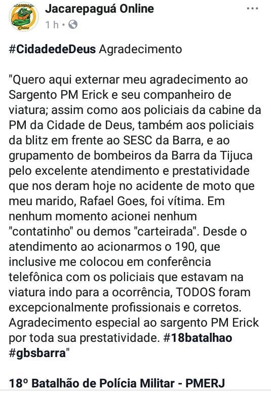 Essa postagem, é um espaço para reflexão, análise e vivências.  O que esperar de um auxílio da #PMERJ? A esposa do Rafael Gomes, através da página Jacarepaguá Online, do @facebook, contará para você...  #Agradecimento #Reconhecimento #Gratidão #ValorizeQuemTeProtege