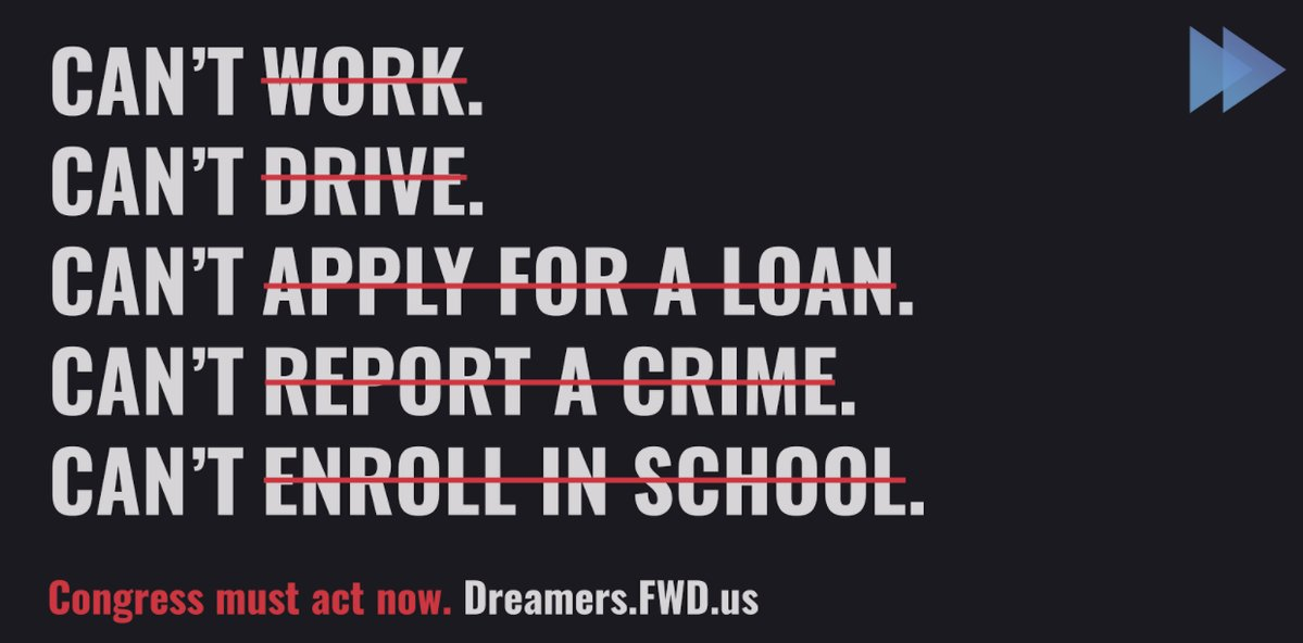 Without DACA, Dreamers lose the ability to drive, work, apply for a loan, report a crime, or enroll in school. Stand #withDreamers today & urge Congress to . We#ProtectDreamers must not turn our backs on 800,000 people. https://t.co/S3MbPx4Nxw